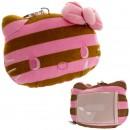 Sanrio Hello Kitty Stripe Series Reel Plush Doll Pass Case (Brown)