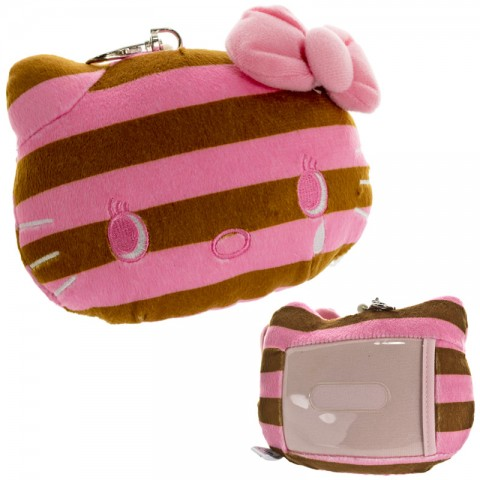Sanrio Hello Kitty Stripe Series Reel Plush Doll Pass Case (Brown)