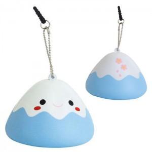 Japanese Kawaii Character Squishy Mascot Ball Chain Fujipon (Blue)