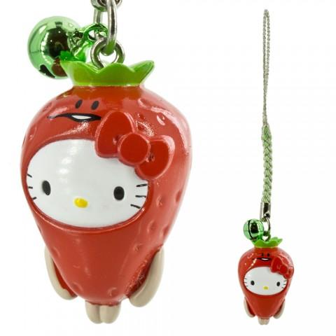 Gantungan HP Hello Kitty kolaborasi dengan Jamur Nameko - Stroberi