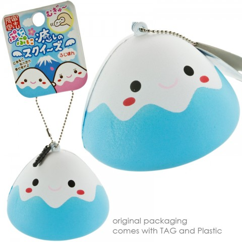 Japanese Kawaii Character Squishy Mascot Ball Chain Fujipon (Blue)