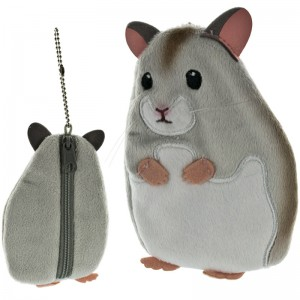 Earth Wind Series Soft and Downy Stuffed Chain Type Petit Pouch - Hamster Grey [Dompet Koin]