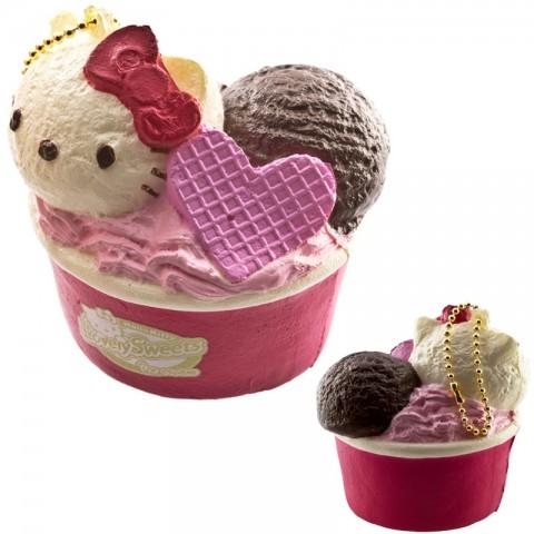 Gantungan Kunci Hello Kitty Squishy seri Lovely Sweets - Es Krim Cup Vanila