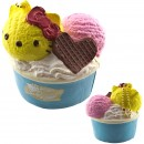 Gantungan Kunci Hello Kitty Squishy seri Lovely Sweets - Es Krim Cup Lemon