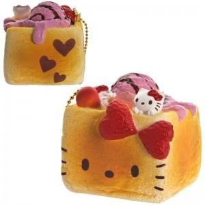 Gantungan Kunci Hello Kitty Squishy seri Lovely Sweets - Brick Toast Stroberi