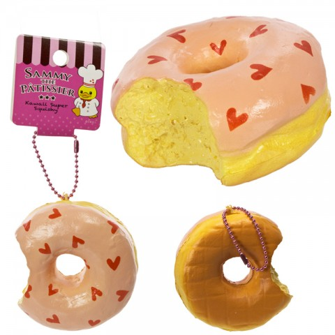 Gantungan Kunci Squishy Sammy The Patissier - Donut Bitten Peach