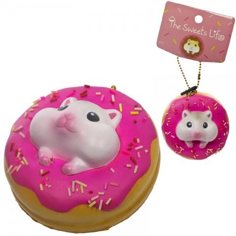 Gantungan Kunci Donut Pearl White Hamster Squishy seri Sweet Life - Raspberry Iced Plain