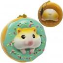 Gantungan Kunci Donut Golden Hamster Squishy seri Sweet Life - Coklat Mint Iced Plain