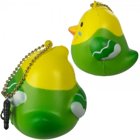 Gantungan Kunci Peepers Round Bird Squishy - Burung Parkit Hijau