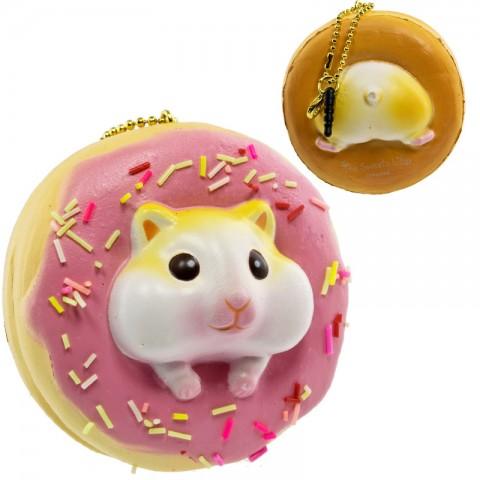 Gantungan Kunci Donut Golden Hamster Squishy seri Sweet Life - Stroberi