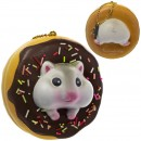 Gantungan Kunci Donut Pearl White Hamster Squishy seri Sweet Life - Coklat Iced Plain
