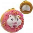 Gantungan Kunci Donut Pearl White Hamster Squishy seri Sweet Life - Stroberi Iced Plain