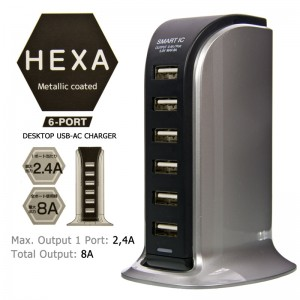 Hexa Charger USB 6 Ports 8A - Silver