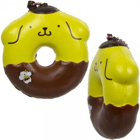 Gantungan Kunci Squishy Pompompurin Donut dengan Plugy - Coklat