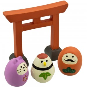 Pajangan DECOLE Concombre - Torii with Daruma and Friends