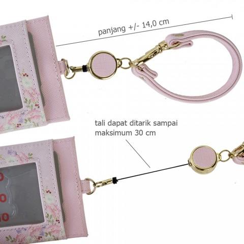 Tempat ID Card SAN-X Korilakkuma Chairoikoguma dengan Reel - Pink