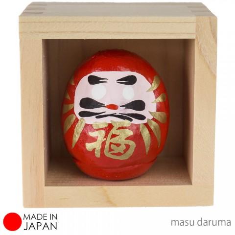 Patung Boneka Daruma dengan Kotak Kayu - Small