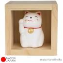 Patung Kucing Keberuntungan Manekineko dengan Kotak Kayu - Small