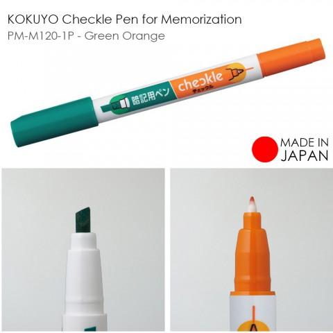 KOKUYO Checkle Pen for Memorization PM-M120-1P - Green Orange