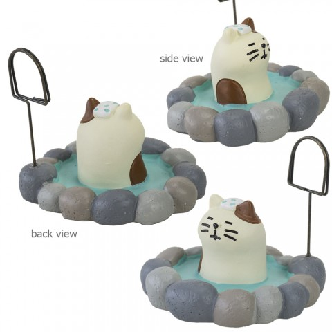 Card Stand Holder DECOLE Concombre Traveling - Onsen Kucing Putih