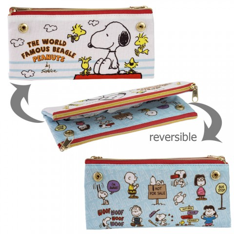 Tempat Pensil Snoopy Bolak-balik - Putih Biru